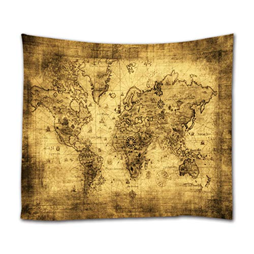 Ihome888 World Map Tapestry Wall Hanging, Light Weight Polyester Fabric Wall Art Decor, 60L x 51W Inch, Antique