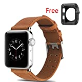 Sunbona 38mm Bracelet Bands Apple Watch 1/2/3, Genuine Leather Replacement Watches Strap Men Women Wrist Watch Band Frame (Brown)