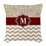 "GiveMe5 Beige Red Chevron Monogram Case Decorative Cushion Cover Pillowcase 18""*18"""
