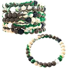 Camo Bracelets for Boys,Kids, Teens,Girls   6 Piece Pack Green Camouflage Silicone Fortune Bracelets   Forest Camo Pattern   Great Military Theme Party Favors & Army Gifts   Frogsac   USA Seller