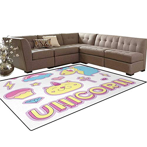Unicorn Cat,Rug,Collection Fantastic Icons Magic Horse Kitten Cupcake Rainbow,Dining Room Home Bedroom Carpet Floor Mat,Sky Blue Pink Pale Yellow,5'x7' -