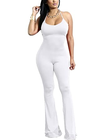 2f84077a11a1 Dreamparis Women s Halter Neck Bodycon Jumpsuit Romper Sleeveless Backless  Long Flare Pants Small White