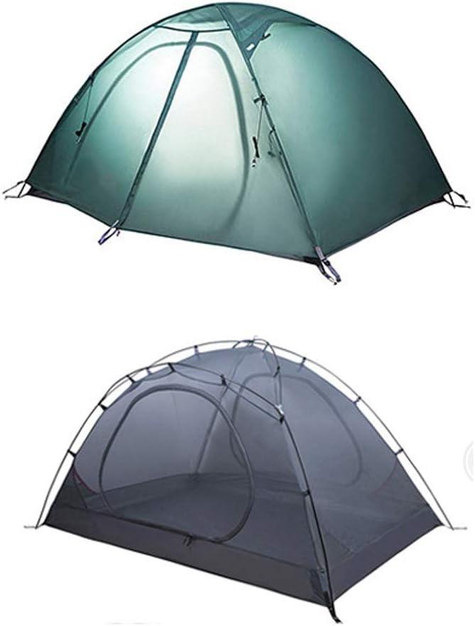 Tiendas Campaña para Acampar Al Aire Libre Campaña Plegable Carcasa Doble De Silicona Recubierta De Silicona Carpa Impermeable Verde Rosa Azul (Color : Verde) Verde