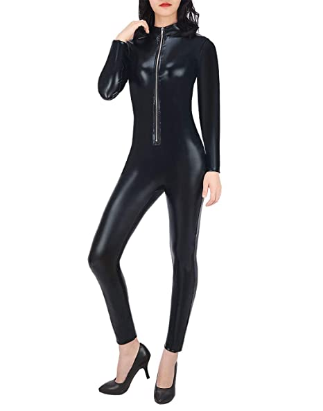 HDE Womenu0027s Cat Suit Wet Look Zipper Front Full Body Adult Sized Black  Bodysuit