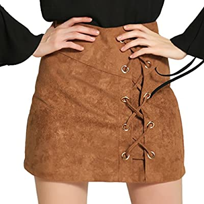 Autumn Melody Stylish Women Sexy High Waist Straps Suede Short Skirt