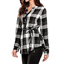 Meaneor Women's Casual Long Sleeve V-Neck Plaid shirts Pullover Top