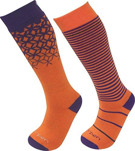 Lorpen Ski Merino Medium Sock - Lorpen T2 Kids Merino Ski Socks - 2 Pack, Orange/Purple, Large