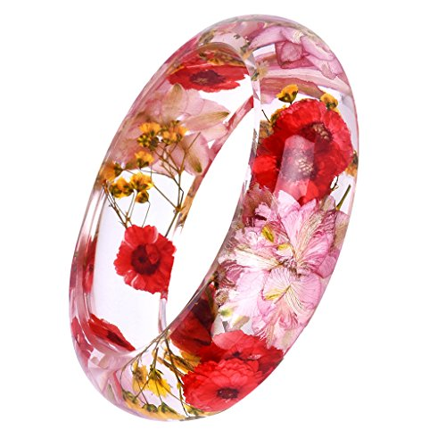 MonkeyJack Retro Plastic Clear Lucite Bangle with Beautiful Daisy Dry Flower (Lucite Plastic Bangle)
