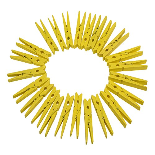 "TTOYOUU Set of 72pcs Wooden Color Spring Clothespins Photo Peg Pin Clips (1.8"") (Yellow)"