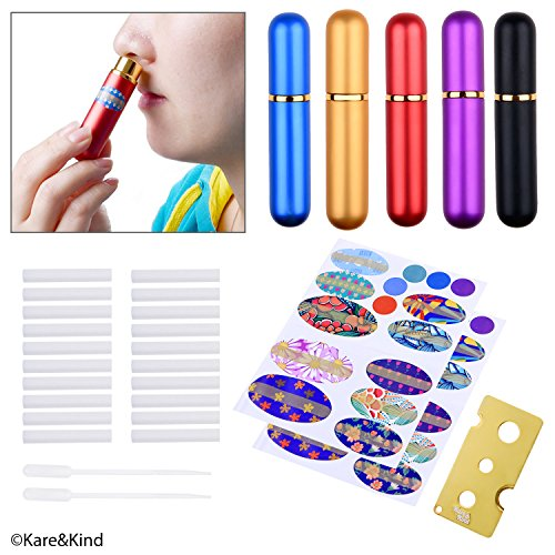 Kare & Kind Inhaler Tubes- Aluminum and Glass - for DIY Essential Oil Aromatherapy Use - Refillable - 5 Elegant Inhaler Tubes, 25 Wicks, 1 Opening Tool, 78 writable Stickers, 2 Mini droppers ()