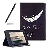 Painted Leather Flip Case Cover For Amazon Kindle Paperwhite 1/2/3, Girlyard Book Style Ultra Slim Devil Smile Pattern Lightweight Standing Protective Holster with Credit Card Holder