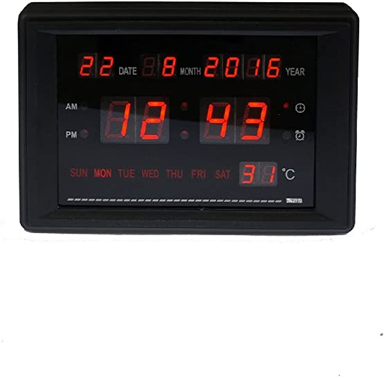 BTBSIGN Electronic Alarm Clock LED Calendar Clock with Time Date Week and Temperature