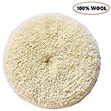 Sisha Wool Polishing Pad, 7' Buffing Pad with Hook and Loop Back for Compound, Cutting & Polishing, 100% Natural Wool, Thick and Aggressive