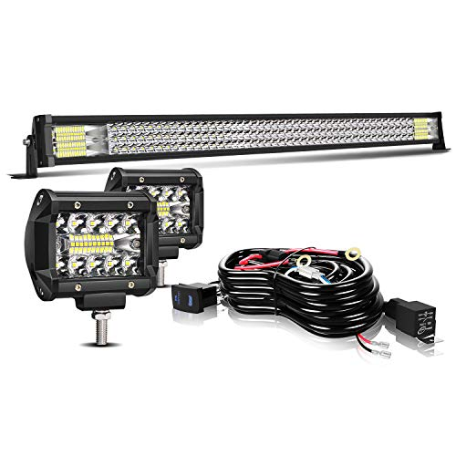 TURBOSII Led Light Bar 40/42Inch 576W Triple Row Offroad Led Bar Waterproof 57600LM Spot Flood Combo + 2Pc 4Inch Led Pods Fog Lights + Wiring For Jeep Polaris Ranger Rzr Golf Cart Truck Toyota Chevy