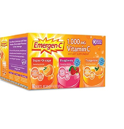 Emergen-C 1,000 mg Vitamin C Dietary Supplement Drink Mix, Super Orange/Raspberry/Tagerine, 90 Packets (C Vitamin Emergen C)