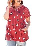 Coutgo Womens Short Sleeve Plus Size T-Shirt Stars - Best Reviews Guide