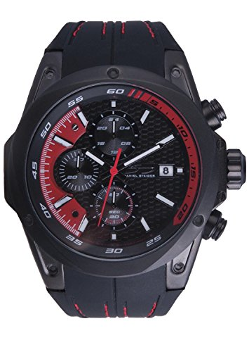 Daniel Steiger Roadster Red Men's Watch - Precision Quartz Movement with Chronograph - 100M Water Resistant - Durable Silicone Band with Designer Stitching