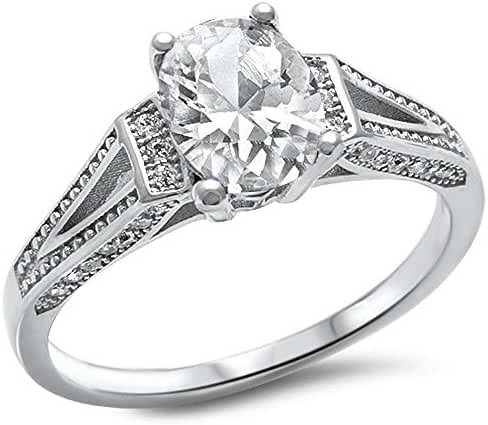 Oval & Pave Cubic Zirconia .925 Sterling Silver Ring Sizes 5-10
