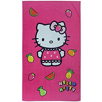 Hello Kitty – Toalla de Playa o de Baño (Fruity, Rosa Fucsia, 70