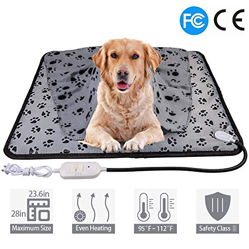 wangstar X-Large Pet Heating Pad & Pet Heated Blanket Warm Pet Heat Mat for Dogs Cats with Chew Resistant Cord, Waterproof Electric Heating Pad