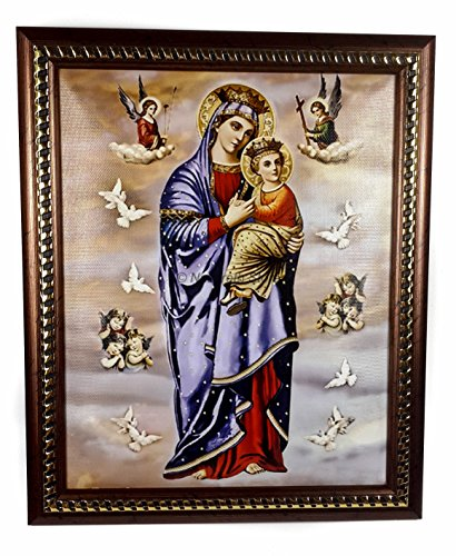 Holy Mary & Baby Jesus With Angels Framed Poster Printed Wall Picture Hanging Plaque 11.4'' by Nazareth Store