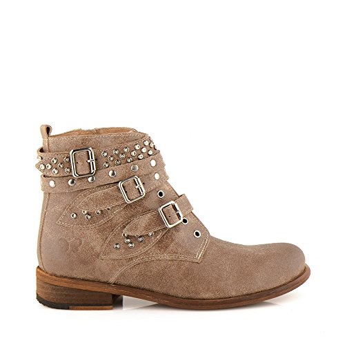 Felmini - Zapatos para Mujer - Enamorarse com Bomber 9910 - Botas Cowboy & Biker - Cuero Genuino - Marrone Marrone