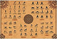 The Mindful Word Yoga Poses Poster (24x36 Inches) - Yoga Poster with 62 Beginner - Int. Asanas/Positions/Stret