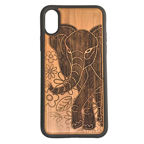 Elephant iPhone Case Cover for iPhone XR by iMakeTheCase Eco-Friendly Bamboo Wood + TPU Wrapped Edges African Asian Spirit Animal Totem Floral Enlightenment