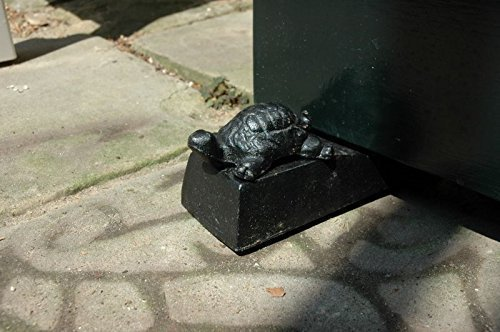Small turtle door stop (black) (hand painted), turtle door wedge, door stop, door wedge, cast iron door stop, cast iron door wedge.