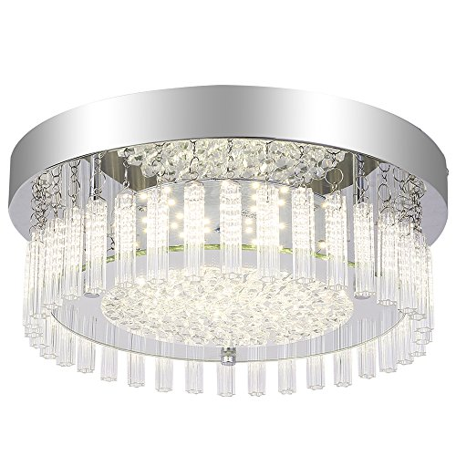 AUDIAN Ceiling Lights Mount Ceiling Lamp Dimmable LED Modern Minimalist Glass Shade K9 Crystal Bead Ceiling Flush Mount Polished Chrome Light 11.8 Inch for Porch Balcony Children's Room (Four Light Celing Lamp)