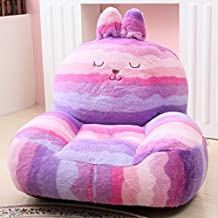 "Kids Mini Lounger Sofa,Bean Bag Chair,Novelty Gift Purple Rabbit PP Cotton Cute Cartoon Washable 21""x17"""