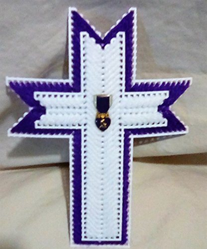 Heart Medal Military (Military Purple Heart Medal Plastic Canvas Cross Magnet)