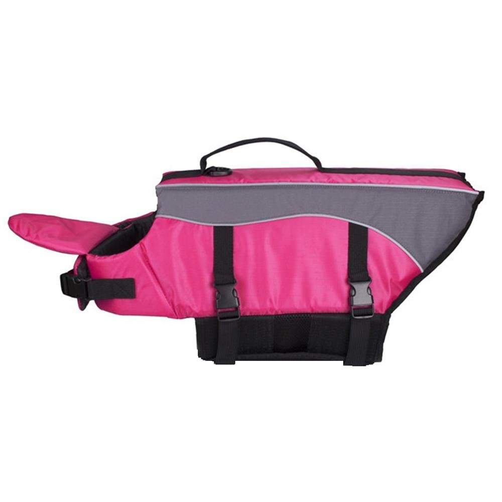 HYBHD Dog Life Jacket Swim Vest Swimsuit with Reflective Strips, Adjustable Lifebuoy Buoyancy Aid Jacket, Rose red-L by HYBHD