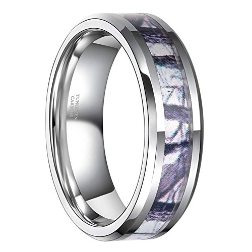 6mm Tungsten Winter Branch Camouflage Inlay Hunting Ring Wedding Engagement Band Comfort Fit Size -
