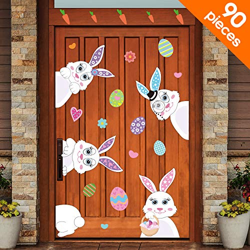 (Blulu 90 Pieces Easter Decorations Easter Eggs Bunny Stickers Easter Window Clings Bunny Decals Easter Wall Door Floor Window Decor Home Party Ornaments)