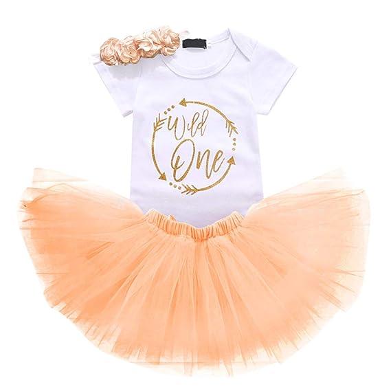 5638f647937c IBTOM CASTLE Baby Girls 1st Birthday Cake Smash 3pcs Outfits Set Cotton  Romper Bodysuit+Tutu