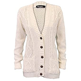f60b51ce63 Ladies  Knitted Cardigan L5BUTH4 Cream X Large  Amazon.co.uk  Clothing
