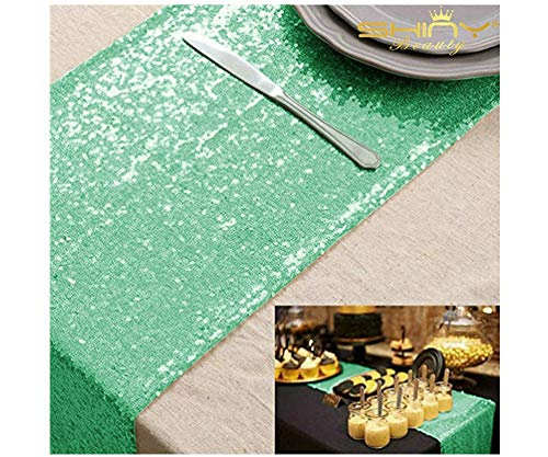 12''*72'' Mint Green Sequin Table Runner Sparkly Metallic Sequin Runner for Wedding Party Dinner Reception(Mint Green -
