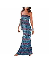 Summer Women sexy Printed Long Maxi Dress Sexy Strapless Boho Style Party Dress
