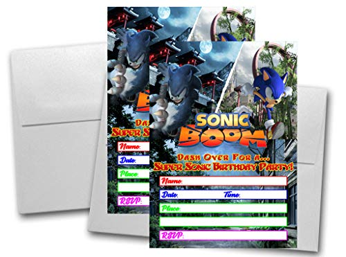 Crafting Mania LLC. 12 Sonic The Hedgehog Birthday Invitation Cards (12 White Envelops Included)