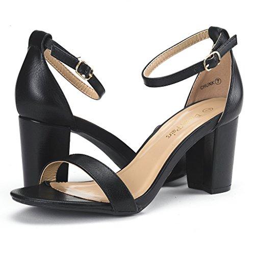 Picture of DREAM PAIRS Women's Chunk Black Pu Low Heel Pump Sandals - 7 M US