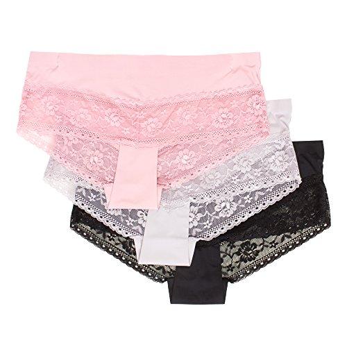 Kathy Ireland Womens 3 Pack Boyshort Underwear Lace Trim Panties Champagne Rose/Stone Grey/Black Small (Womens Underwear Boyshort Printed)
