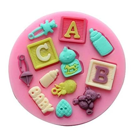 JoyGlobal Silicone Baby Shower Fondant Mold, Pink Fondant Moulds at amazon