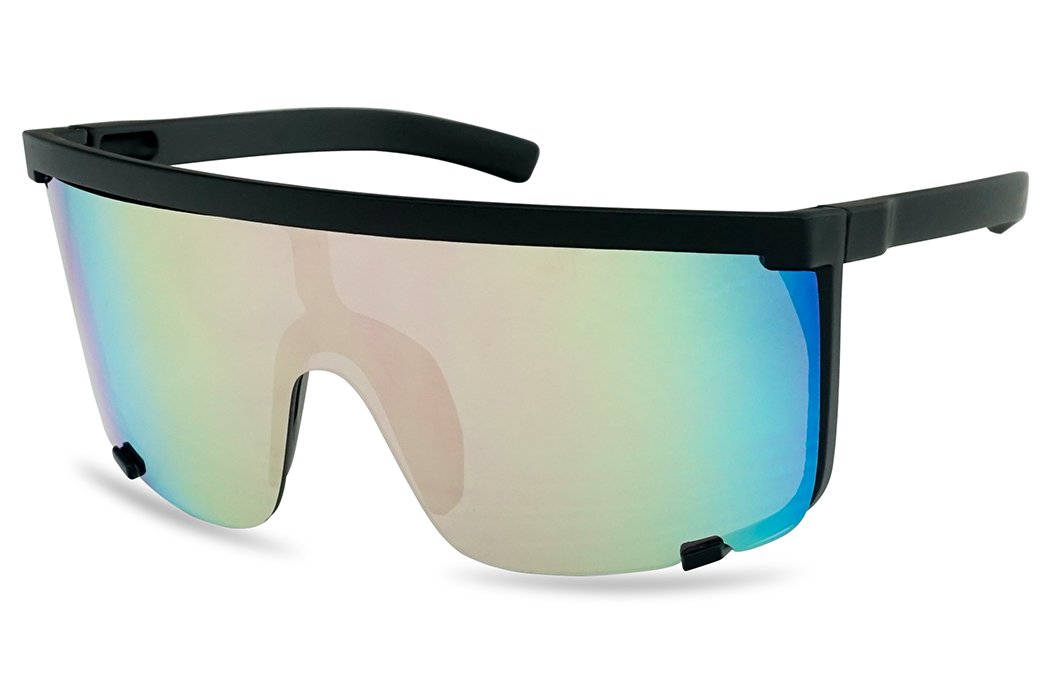 SunglassUP Oversized 150mm Super Shield Mirrored Lens Sunglasses Retro Flat Top Matte Black Frame (Matte Black Frame | Pink)