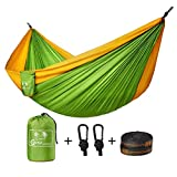 Coofel Camping Hammock, Portable Double Hammock Nylon Parachute Hammock for Travel Camping with Hammock Straps And Solid Steel Carabiners (Yellow & Green)