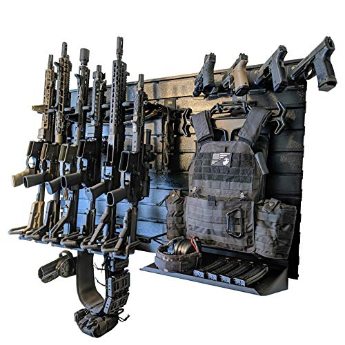 Hold Up Displays Gun Rack Wall Mount - Modular Tactical Firearm Stand Holds Any Rifle or Handgun - Keeps Guns Organized at Home - Made in USA with Heavy Duty Steel