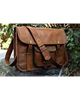 HLC Leather Unisex 100% Genuine Real Leather Messenger Bag for Laptop Briefcase Satchel ...