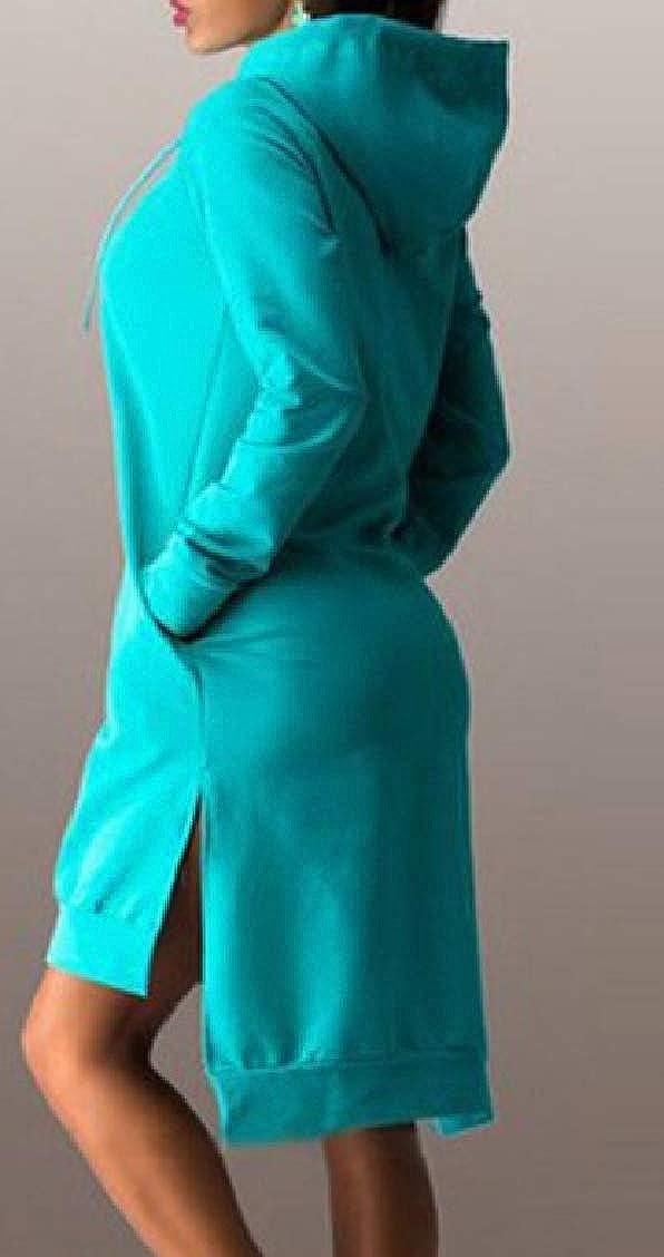 Sweatwater Womens Casual Pullover Hooded Split High-Low Sweatshirts Jacket