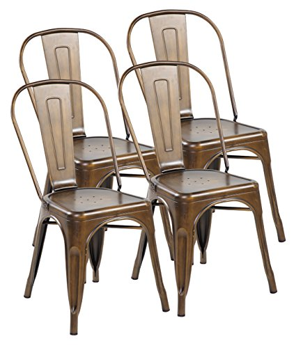Eurosports Tolix Style Chair 3004-AC-4 Metal Kitchen Dining Chairs with Back, Set of 4 Antique Copper