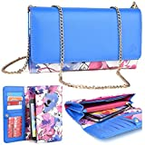 KroO ZTE Grand X 3, X Max+, ZTE ZMax Pro, ZMAX 2, Xmax S3 S II, Avid Plus, Axon 7 Max, Axon Pro, Iconic Phablet Phone Case | 2016 Blue/Pink Ditsy Floral Print Crossbody Wallet